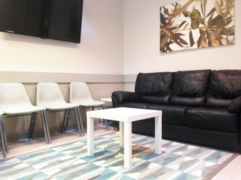 Waiting Area with Leather Couch